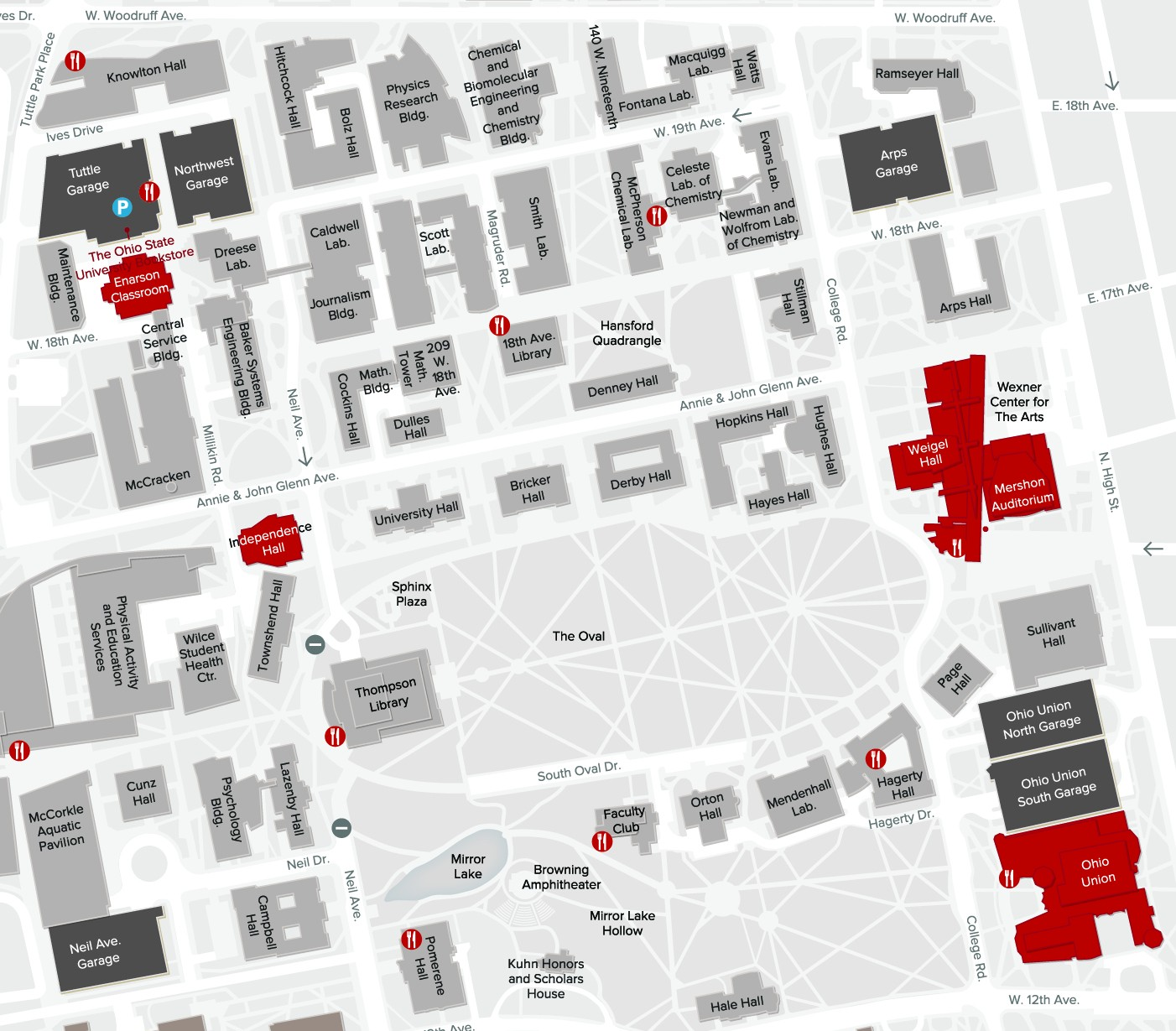 Map of Ohio State campus with Teaching Orientation buildings marked